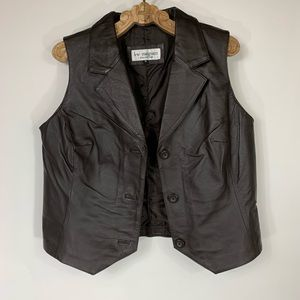 Vintage Leather Vest Sz 16 Brown Nearly Black